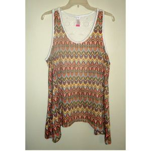 Colorful Tribal Print Lace Back High Low Tank